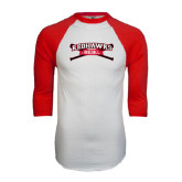 White/Red Raglan Baseball T-Shirt-Baseball Crossed Bats