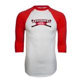 White/Red Raglan Baseball T-Shirt-Baseball Crossed Bats