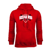 Red Fleece Hoodie-Softball Design w/ Bats and Plate