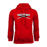 Red Fleece Hoodie-Baseball Crossed Bats