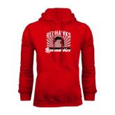 Red Fleece Hoodie-Redhawk Gymnastics Backflip