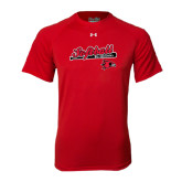 Under Armour Red Tech Tee-Softball Script on Bat