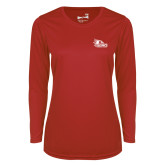 Bookstore Ladies Syntrel Performance Red Longsleeve Shirt-SEMO Logo for Vinyl