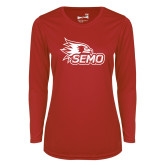 Bookstore Ladies Syntrel Performance Red Longsleeve Shirt-SEMO Logo