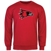 Red Fleece Crew-Redhawk Head