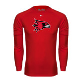 State Under Armour Red Long Sleeve Tech Tee-Redhawk Head