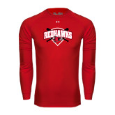 Under Armour Red Long Sleeve Tech Tee-Softball Design w/ Bats and Plate