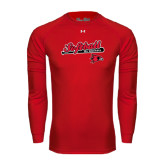 Under Armour Red Long Sleeve Tech Tee-Softball Script on Bat