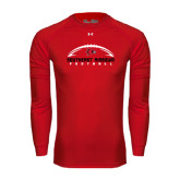 State Under Armour Red Long Sleeve Tech Tee-Arched Football Design