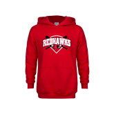 Youth Red Fleece Hoodie-Softball Design w/ Bats and Plate