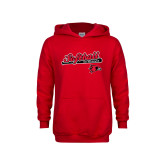 Youth Red Fleece Hoodie-Softball Script on Bat