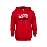 Youth Red Fleece Hoodie-Tennis Game Set Match