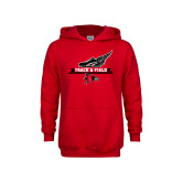 Youth Red Fleece Hoodie-Track and Field Side Design