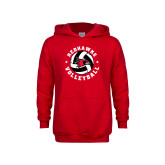 Youth Red Fleece Hood-Volleyball Stars Design