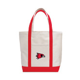 Contender White/Red Canvas Tote-Redhawk Head
