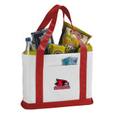 Bookstore Contender White/Red Canvas Tote-Primary Logo