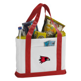 Bookstore Contender White/Red Canvas Tote-Hawk Head