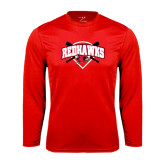 Syntrel Performance Red Longsleeve Shirt-Softball Design w/ Bats and Plate