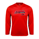 Syntrel Performance Red Longsleeve Shirt-Softball Script on Bat