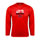 Syntrel Performance Red Longsleeve Shirt-Tennis Game Set Match