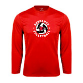 Syntrel Performance Red Longsleeve Shirt-Volleyball Stars Design