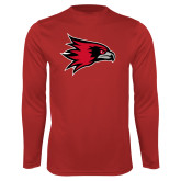 Bookstore Performance Red Longsleeve Shirt-Hawk Head