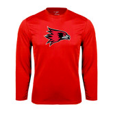 State Syntrel Performance Red Longsleeve Shirt-Redhawk Head