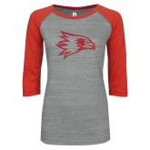 Bookstore ENZA Ladies Athletic Heather/Red Vintage Baseball Tee-N Red Glitter