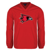 V Neck Red Raglan Windshirt-Redhawk Head