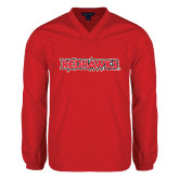 V Neck Red Raglan Windshirt-Redhawks