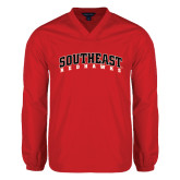 V Neck Red Raglan Windshirt-Southeast Redhawks