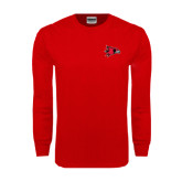 Red Long Sleeve T Shirt-Redhawk Head