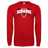 Red Long Sleeve T Shirt-Softball Design w/ Bats and Plate