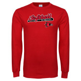 Red Long Sleeve T Shirt-Softball Script on Bat