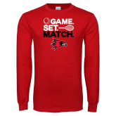 Red Long Sleeve T Shirt-Tennis Game Set Match