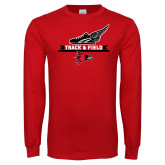 Red Long Sleeve T Shirt-Track and Field Side Design