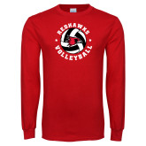 Red Long Sleeve T Shirt-Volleyball Stars Design
