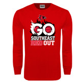 Red Long Sleeve T Shirt-GO Southeast Red Out