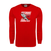 Red Long Sleeve T Shirt-Cross Country Winged Shoe