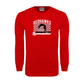 Red Long Sleeve T Shirt-Redhawk Gymnastics Backflip