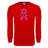 Red Long Sleeve T Shirt-Breast Cancer Awareness