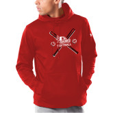 Bookstore Under Armour Red Armour Fleece Hoodie-Softball with Crossed Bats