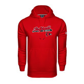 State Under Armour Red Performance Sweats Team Hood-Softball Script on Bat