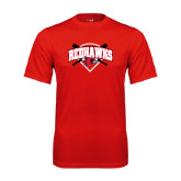 Syntrel Performance Red Tee-Softball Design w/ Bats and Plate