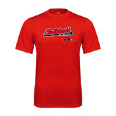 Syntrel Performance Red Tee-Softball Script on Bat