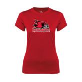 State Ladies Syntrel Performance Red Tee-Official Logo