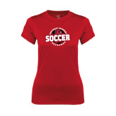 Ladies Syntrel Performance Red Tee-Soccer Design