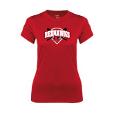 Ladies Syntrel Performance Red Tee-Softball Design w/ Bats and Plate