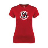Ladies Syntrel Performance Red Tee-Volleyball Stars Design