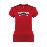 Ladies Syntrel Performance Red Tee-Baseball Crossed Bats